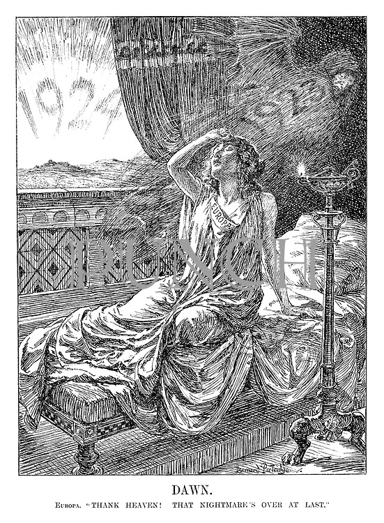 """Dawn. Europa. """"Thank heaven! That nightmare's over at last."""" (Europe wakes up from a bad sleep to the hope of the New Year, 1924)"""