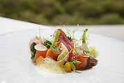 "Marinated salmon with ras-al-hanout and Algarve oranges, salad and vegetable crisp, a creation by Chef José Cordeiro, executive-chef in ""Feitoria"" restaurant, part of Altis Belém Hotel, which is one of portuguese Michelin-starred restaurants."