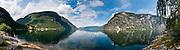 Lærdalsfjorden (branch of Sognefjorden), Lærdal, Sogn og Fjordane county, Norway. Panorama stitched from 10 overlapping photos.