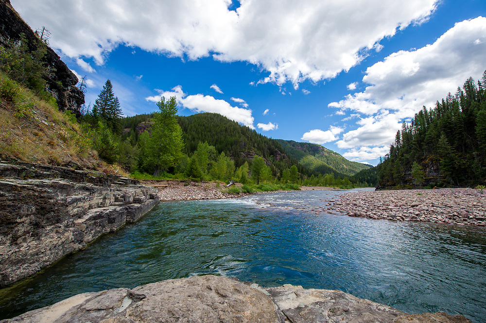 Where the middle fork of the Flathead River bends and turns 90 degrees in the Great Bear Wilderness