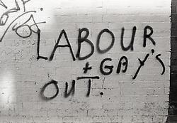 Homophobic and anti-labour party graffiti, Hyson Green, Nottingham UK 1989