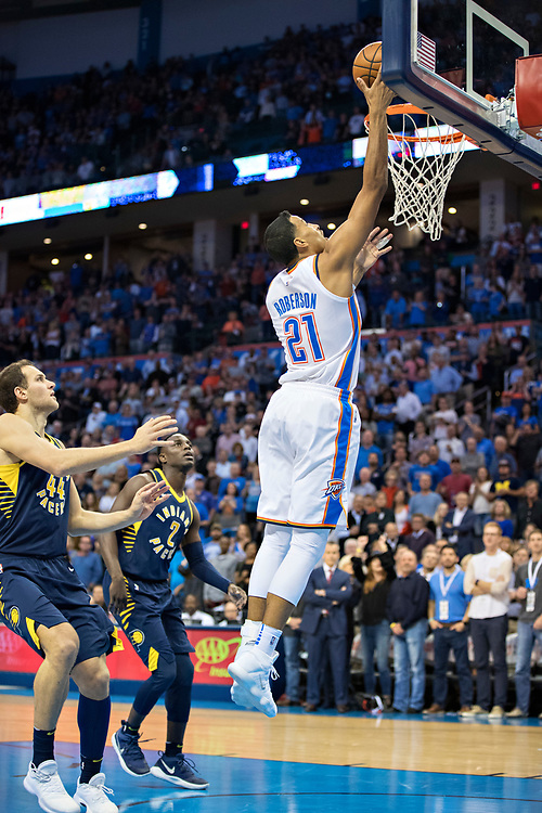 OKLAHOMA CITY, OK - OCTOBER 25:  Andre Roberson #21 of the Oklahoma City Thunder goes in for a lay up during a game against the Indiana Pacers at the Chesapeake Energy Arena on October 25, 2017 in Oklahoma City, Oklahoma.  NOTE TO USER: User expressly acknowledges and agrees that, by downloading and or using this photograph, User is consenting to the terms and conditions of the Getty Images License Agreement.  The Thunder defeated the Pacers 114-96.  (Photo by Wesley Hitt/Getty Images) *** Local Caption *** Andre Roberson