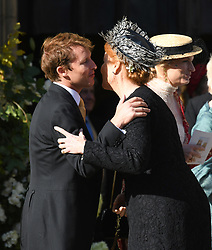 James Blunt and Sarah, Duchess of York at The wedding of Ellie Goulding and Casper Jopling, York Minster. Photo credit should read: Doug Peters/EMPICS