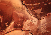 "Petroglyphs at the ""Sun's Eye"" rock in Monument Valley National Tribal Park, Arizona-Utah."