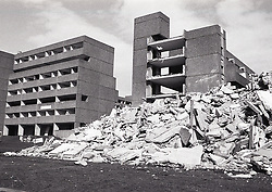Demolition of Balloon Woods housing estate, Wollaton, Nottingham only 18 years after they were built, Nottingham April 1984 UK