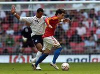 Photo: Olly Greenwood.<br />England U16 v Spain U16. International Friendly. 28/04/2007. England's John Bostock and Spain's Antonio Miguel de la Torre