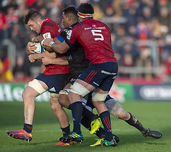 December 9, 2018 - Limerick, Ireland - Peter O'Mahony of Munster in action with the ball during the Heineken Champions Cup Round 3 match between Munster Rugby and Castres Qlympique at Thomond Park Stadium in Limerick, Ireland on December 9, 2018  (Credit Image: © Andrew Surma/NurPhoto via ZUMA Press)