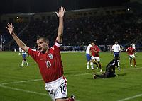 Fotball<br /> VM-kvalifisering<br /> Azerbaijan / Aserbaijan v England<br /> 13.10.2004<br /> Foto: BPI/Digitalsport<br /> NORWAY ONLY<br /> <br /> 13/10/2004 Azerbaijan v England, World Cup Qualifier, Tofiq Berhamov Stadium<br /> <br /> Michael Owen celebrates his winning goal