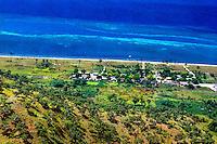 Maluku, South East Maluku, Pulau Liran. A small village on the southwest tip of Pulau Liran (from helicopter).