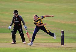 Timm van der Gugten of Glamorgan bowls.  - Mandatory by-line: Alex Davidson/JMP - 22/07/2016 - CRICKET - Th SSE Swalec Stadium - Cardiff, United Kingdom - Glamorgan v Somerset - NatWest T20 Blast