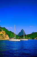 Sailboats off Anse Chastanet Resort, Soufriere, St. Lucia