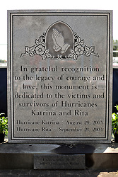 29 August 2015. Lower 9th Ward, New Orleans, Louisiana.<br /> Hurricane Katrina 10th Anniversary.<br /> The monument dedicated to the victims and survivors of those lost to the storm. <br /> Photo credit©; Charlie Varley/varleypix.com.