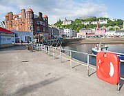 The quayside on North Pier with the Columba Hotel, Oban, Argyll and Bute, Scotland, UK