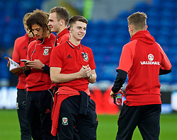 CARDIFF, WALES - Monday, October 9, 2017: Wales' Ben Woodburn on the pitch before the 2018 FIFA World Cup Qualifying Group D match between Wales and Republic of Ireland at the Cardiff City Stadium. Ryan Hedges (Pic by Paul Greenwood/Propaganda)