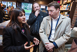 © Licensed to London News Pictures . 18/11/2014 . Kent , UK . Naushabah Khan ( Labour candidate ) and Iain McNicol ( General Secretary of the Labour Party ) in Sweet Expectations sweet shop on High Street , Rochester , ahead of the upcoming Rochester and Strood by-election . Photo credit : Joel Goodman/LNP