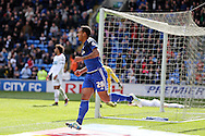 Kenneth Zohore of Cardiff city © celebrates after he scores his teams 1st goal to equalise at 1-1. Skybet football league championship match, Cardiff city v Bolton Wanderers at the Cardiff city Stadium in Cardiff, South Wales on Saturday 23rd April 2016.<br /> pic by Andrew Orchard, Andrew Orchard sports photography.