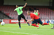Jon Parkin of York City (9) heads the ball wide during the Vanarama National League North match between York City and Curzon Ashton at Bootham Crescent, York, England on 18 August 2018.