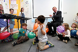 Liberal Democrats leader Tim Farron moderates a mock debate with the leaders played by children at the party's headquarters in Westminster, London.