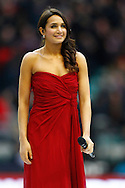 Picture by Andrew Tobin/SLIK images +44 7710 761829. 2nd December 2012. Laura Wright sings the national anthem before the QBE Internationals match between England and the New Zealand All Blacks at Twickenham Stadium, London, England. England won the game 38-21.
