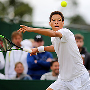 LONDON, ENGLAND - JULY 13:  George Loffhagen of Great Britain in action against Rudolf Molleker of Germany in the Boys' Singles Tournament during the Wimbledon Lawn Tennis Championships at the All England Lawn Tennis and Croquet Club at Wimbledon on July 13, 2017 in London, England. (Photo by Tim Clayton/Corbis via Getty Images)