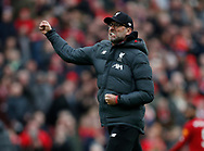 Jurgen Klopp manager of Liverpool celebrates the win  during the Premier League match at Anfield, Liverpool. Picture date: 7th March 2020. Picture credit should read: Darren Staples/Sportimage