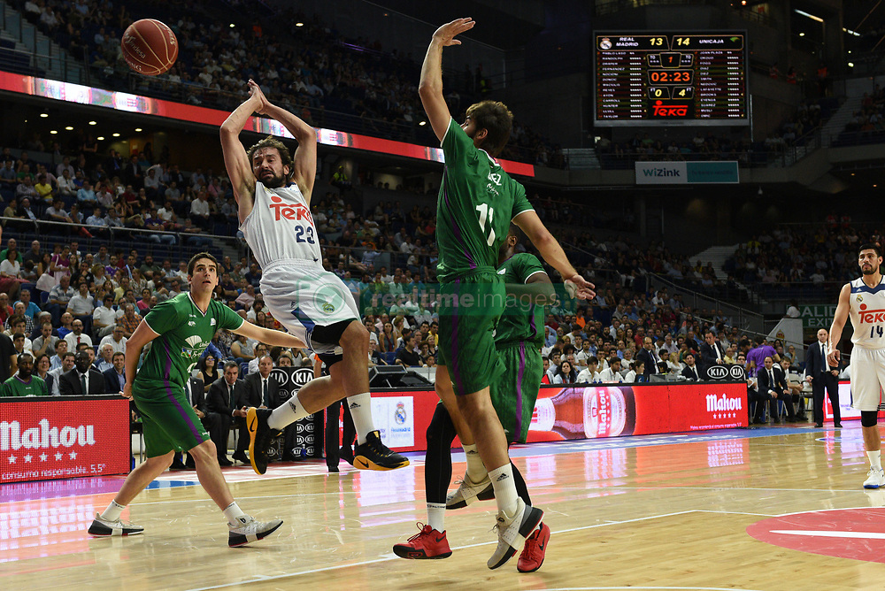 May 31, 2017 - Madrid, Madrid, Spain - Sergio Llul (L), #23 of Real Madrid in action during the first game of the semifinals of basketball Endesa league between Real Madrid and Unicaja de Málaga. (Credit Image: © Jorge Sanz/Pacific Press via ZUMA Wire)