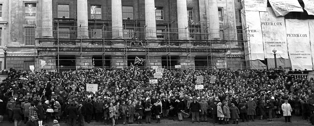Unionist supporters protesting in front of Parliament Buildings, Stormont, N Ireland, UK, about the deteriorating security situation. This follows the visit to London by N Ireland Prime Minister James Chichester-Clark where he met with the Conservative Party Prime Minister Edward Heath. The following day Chichester-Clark resigned as PM and was succeeded by Brian Faulkner. 18th March 1971. 197103180163a<br /> <br /> Copyright Image from Victor Patterson, Belfast, UK<br /> <br /> t: +44 28 9066 1296 (from Rep of Ireland 048 9066 1296)<br /> m: +44 7802 353836<br /> e: victorpattersonbelfast@gmail.com<br /> <br /> www.images4media.com<br /> <br /> Please see my full Terms and Conditions of Use at https://www.images4media.com/p/terms-conditions - it is IMPORTANT that you familiarise yourself with them.<br /> <br /> Images used online incur an additional cost. This cost should be agreed in writing in advance. Online images must be visibly watermarked i.e. © Victor Patterson or that of the named photographer within the body of the image. The original metadata must not be deleted from images used online.<br /> <br /> This image is only available for the use of the download recipient i.e. television station, newspaper, magazine, book publisher, etc, and must not be passed on to a third party. It is also downloaded on condition that each and every usage is notified within 7 days to victorpattersonbelfast@gmail.com.<br /> <br /> The right of Victor Patterson (or the named photographer) to be identified as the author is asserted in accordance with The Copyright Designs And Patents Act (1988). All moral rights are asserted.