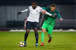 Mouctar Diakhaby of France and Jan Mlakar of Slovenia during football match between Slovenia and France in Qualifying round for European Under-21 Championship 2019, on November 13, 2017 in Sportni park, Domzale, Slovenia.  Photo by Ziga Zupan / Sportida