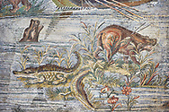 Detail picture of hippo and crocodiles on the  Nile  from the famous Roman Hellenistic Nilotic landscape Roman Palestrina Mosaic or Nile mosaic , 1st or 2nd century BC.Palestrina of the Museo Archeologico Nazionale di Palestrina Prenestino  (Palestrina Archaeological Museum), Palestrina, Italy. .<br /> <br /> If you prefer to buy from our ALAMY PHOTO LIBRARY  Collection visit : https://www.alamy.com/portfolio/paul-williams-funkystock/roman-mosaic.html - Type -   Palestrina   - into the LOWER SEARCH WITHIN GALLERY box. Refine search by adding background colour, place, museum etc<br /> <br /> Visit our ROMAN MOSAIC PHOTO COLLECTIONS for more photos to download  as wall art prints https://funkystock.photoshelter.com/gallery-collection/Roman-Mosaics-Art-Pictures-Images/C0000LcfNel7FpLI