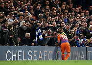 Chelsea's David Luiz tussles with Manchester City's Sergio Aguero as the crowd react during the Premier League match at the Stamford Bridge Stadium, London. Picture date: April 5th, 2017. Pic credit should read: David Klein/Sportimage