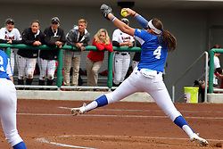 21 April 2018:  Nicole Newman during a Missouri Valley Conference (MVC) women's softball game between the Drake Bulldogs and the Illinois State Redbirds on Marian Kneer Field in Normal IL