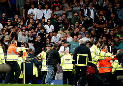 Hajduk Split fans cause trouble during the first half - Mandatory by-line: Matt McNulty/JMP - 17/08/2017 - FOOTBALL - Goodison Park - Liverpool, England - Everton v Hajduk Split - UEFA Europa League First Playoff Round - First Leg