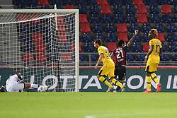"""Foto Filippo Rubin<br /> 28/09/2020 Bologna (Italia)<br /> Sport Calcio<br /> Bologna - Parma - Campionato di calcio Serie A 2020/2021 - Stadio """"Renato """"Dall'Ara<br /> Nella foto: ESULTANZA GOAL BOLOGNA ROBERTO SORIANO (BOLOGNA FC)<br /> <br /> Photo Filippo Rubin<br /> September 28, 2020 Bologna (Italy)<br /> Sport Soccer<br /> Bologna vs Parma - Italian Football Championship League A 2020/2021 - """"Renato Dall'Ara"""" Stadium <br /> In the pic: CELEBRATION GOAL BOLOGNA ROBERTO SORIANO (BOLOGNA FC)"""