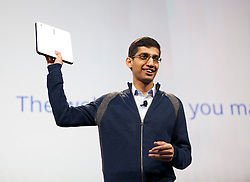Sundar Pichai, senior vice president of Chrome at Google Inc.,  shows off  a Samsung Chromebook during his keynote address at the Google I/O  developer's conference in San Francisco, California. Google announced their new Chromebook line of laptops.