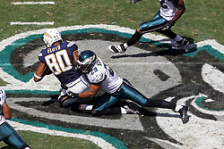 Philadelphia Eagles strong safety Nate Allen #29 tackles San Diego Chargers wide receiver Malcom Floyd #80 during the NFL game between the San Diego Chargers and the Philadelphia Eagles in Philadelphia. The Chargers won 33-30. (Photo by Brian Garfinkel)