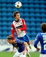 Fotball  Tippeligaen 2008 <br /> Ullevål Stadion 21.09.08<br /> FC Lyn Oslo - Molde<br /> <br /> Lars Kristian Eriksen hopper bukk over Mattias Mostrøm<br /> <br /> Foto: Eirik Førde