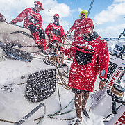 Leg 4, Melbourne to Hong Kong, day 17 on board MAPFRE, Tamara Echegoyen, Louis Sinclair, Rob Greenhalgh and Guillermo Altadill on deck during their watch. Photo by Ugo Fonolla/Volvo Ocean Race. 18 January, 2018.