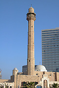 Israel, Tel Aviv, Hassan Beq mosque in Jaffa, with a modern building in the background