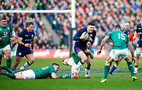 Rugby Union - 2019 Guinness Six Nations Championship - Scotland vs. Ireland<br /> <br /> Blair Kinghorn of Scotland at Murrayfield and Jonathan Sexton of Ireland<br /> <br /> COLORSPORT/LYNNE CAMERON