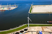 Nederland, Groningen, Eemshaven, 01-05-2013;  ingang haven met havenmond nieuw (leeg) haventerrein aan de Wilhelminahaven. Waddenzee..Empty harbour site and port entrance in  the port of Eemshaven. Wadden Sea...luchtfoto (toeslag op standard tarieven).aerial photo (additional fee required).copyright foto/photo Siebe Swart