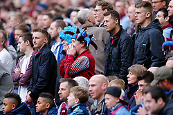 Aston Villa supporters look on nervously - Photo mandatory by-line: Rogan Thomson/JMP - 07966 386802 - 19/04/2015 - SPORT - FOOTBALL - London, England - Wembley Stadium - Aston Villa v Liverpool - FA Cup Semi Final.
