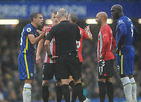 Football - 2021 / 2022 Premier League - Chelsea vs Southampton - Stamford Bridge - Saturday 2nd October 2021<br /> <br /> Referee Martin Atkinson dissallows  Chelsea's 2nd goal by Werner as Cesar Azpilicueta complains<br /> <br /> CreditCOLORSPORT/Andrew Cowie