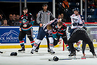 KELOWNA, CANADA - OCTOBER 13: Dom Schmiemann #3 of the Tri-City Americans drops the gloves with Kyle Topping #24 of the Kelowna Rockets at the third period buzzer on October 13, 2018 at Prospera Place in Kelowna, British Columbia, Canada.  (Photo by Marissa Baecker/Shoot the Breeze)  *** Local Caption ***