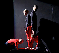 Julie Cunningham and Company<br /> Double Bill<br /> at The Pitt, Barbican Theatre, London, Great Britain <br /> 8th March 2017 <br /> <br /> Julie Cunningham <br /> Harry Alexander<br /> Alexander Williams<br /> Hannah Burfield<br />  <br /> Award-winning dancer and nominee of the 2016 Critics' Circle National Dance Award for Emerging Artist, Julie Cunningham launches her newly formed company, and makes her Barbican choreographic debut with an expressive double bill about gender and identity.<br />  <br /> <br /> <br /> Piece 2: To Be Me <br /> <br /> <br /> Photograph by Elliott Franks <br /> Image licensed to Elliott Franks Photography Services