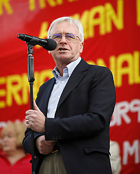 © Licensed to London News Pictures.01/05/2017.London, UK. Shadow chancellor JOHN MCDONNELL speaking during a May Day protest march at Trafalgar Square in London on May 1, 2017.Photo credit: Tom Nicholson/LNP