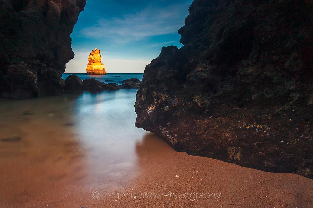 Rock with golden light