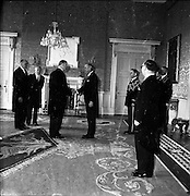 17/05/1961<br /> 05/17/1961<br /> 17 May 1961<br /> New U.S. Ambassador Edward Grant Stockdale presents his credentials at Aras an Uachtarain. Picture shows: President Eamon de Valera greeting Ambassador Stockdale at the ceremony.