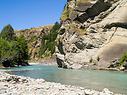 Looking across Skipper's Canyon and the Shotover River, near Queenstown, Otago, New Zealand.  Skipper's Canyon is an historical gold mining area of the Otago Region.