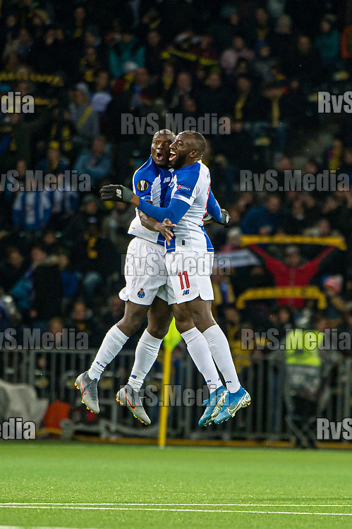 BERN, SWITZERLAND - NOVEMBER 28: #9 Vincent Aboubakar of FC celebrates after scoring a goal with #11 Moussa Marega during the UEFA Europa League group G match between BSC Young Boys and FC Porto at Stade de Suisse, Wankdorf on November 28, 2019 in Bern, Switzerland. (Photo by Robert Hradil/RvS.Media)