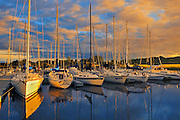 Boats in marina at sunset<br /> St. Henri de Taillon<br /> Quebec<br /> Canada